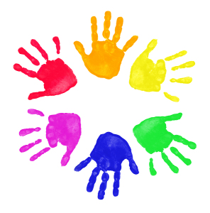 Set of colorful hand prints in rainbow order isolated on white b